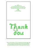 Printable Thank you note card with green fabric font lette