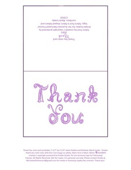 photo regarding Printable Note Card identify Printable Thank your self be aware card with lavender material font letters, blank inside of