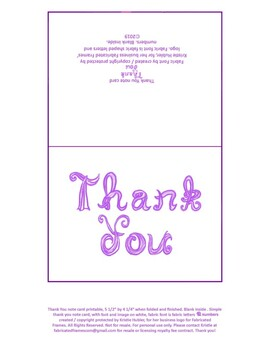 graphic about Printable Thank You Note titled Printable Thank yourself take note card with crimson material font letters, blank in just