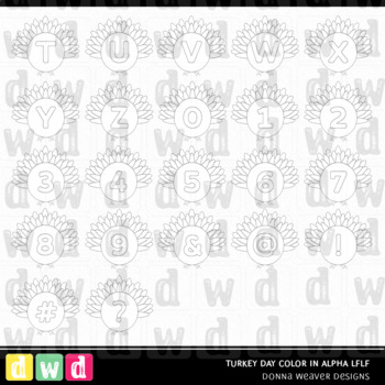 Printable Thanksgiving Alphabet TURKEY DAY COLOR IN Letters Numbers Clip Art