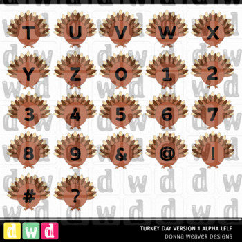 Printable Thanksgiving Alphabet TURKEY DAY Version1 Letters Numbers Clip Art