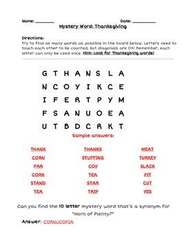 photo regarding Word Game Printable known as Printable Thanksgiving Boggle Term Activity With Reward Key Term Difficulty