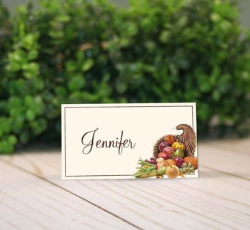 photo relating to Printable Tent Cards called Printable Thanksgiving Cornucopia Space Playing cards and Tent Playing cards