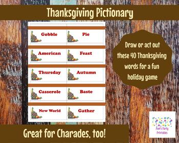 Printable Thanksgiving Game Cards for Pictionary, Charades and 20 Questions