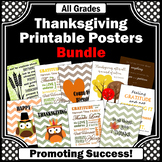 Printable Thanksgiving Posters BUNDLE, Thanksgiving Classroom Decorations