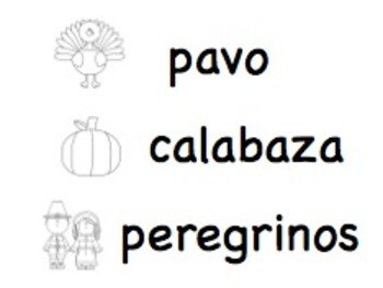 Printable Thanksgiving Vocabulary Words: SPANISH