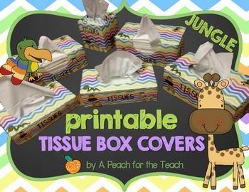 Printable Tissue Box Covers: Jungle Chevron (includes six