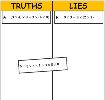 Printable Truths and Lies - Apply Properties of Operations (3.OA.B.5)