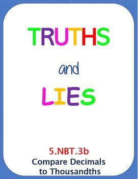 Printable Truths and Lies - Compare Decimals (5.NBT.3b)