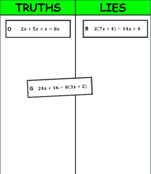 Printable Truths and Lies - Equivalent Expressions (6EE3 and 6EE4)