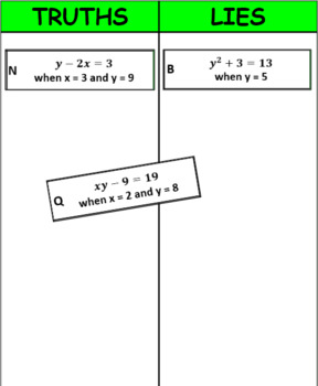 Printable Truths and Lies - Evaluate Expressions (6.EE.2c)