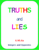Printable Truths and Lies - Integers and Opposites (6.NS.6a)