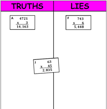 Printable Truths and Lies - Multiply Whole Numbers (4BNTB5)
