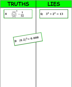 Printable Truths and Lies - Numerical Expressions with Exponents (6EE1)