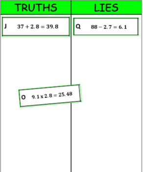 Printable Truths and Lies - Operations with Multi-Digit Decimals (6.NS.3)