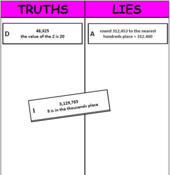 Printable Truths and Lies - Round Multi-Digit Whole Numbers (4.NBT.3)