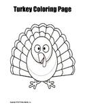 Printable Turkey Coloring Page Worksheet