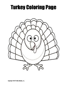 Printable Turkey Coloring Page Worksheet