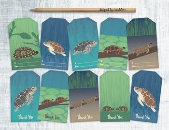 Printable Turtle Gift Tags - 10 Handmade Hang Tags and Thank You Tags