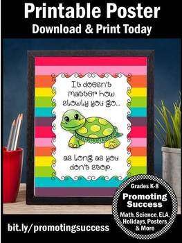 Inspirational Quote, Motivational Poster for Classroom Decor Colorful
