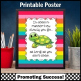 Rainbow Classroom Decor, Turtle Theme, Motivational Quote