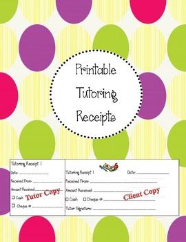 Printable Tutoring Receipts