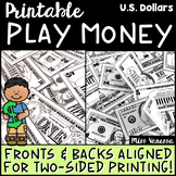Printable Play Money ~ US Dollars $$$ ~ Fronts & Backs Ali