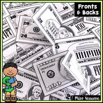 Printable Play Money ~ US Dollars $$$ ~ Fronts & Backs Aligned for Printing