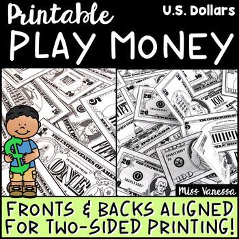 Printable Play Money ~ US Dollars $$$ ~ Fronts & Backs Ali
