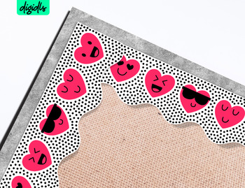 Printable Valentine Bulletin Border with Hearts & Emoji faces