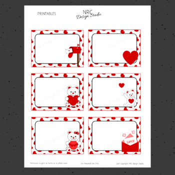 Printable Tags, Valentine, Labels, Name Tags - Classroom Decoration