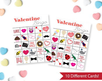 Printable Valentine's Bingo Cards, Kids Valentine Party Game, 10 different cards