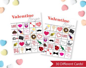Printable Valentine's Bingo Cards, Kids Valentine Party Game, 30 different cards