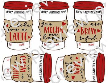 Printable Valentine's Day Coffee Cards | Coffee To Go Cup Cut-outs | Funny Puns