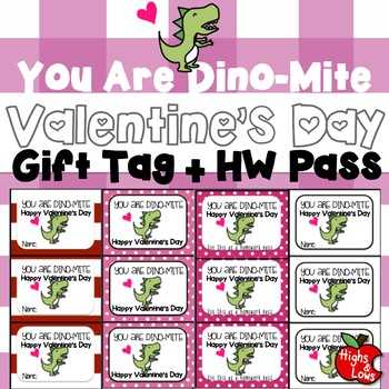 photo relating to Valentine Gift Tags Printable known as Printable Valentines Working day Present Tag and Research P (Yourself Are Dino-Mite)