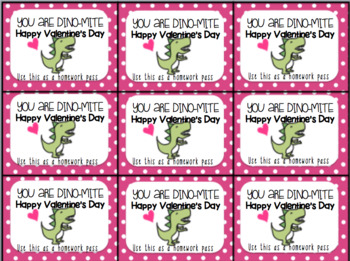 Printable Valentine's Day Gift Tag and Homework Pass (You Are Dino-Mite)