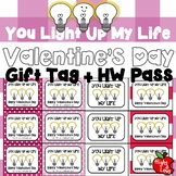 Printable Valentine's Day Gift Tag and Homework Pass (You Light Up My Life)