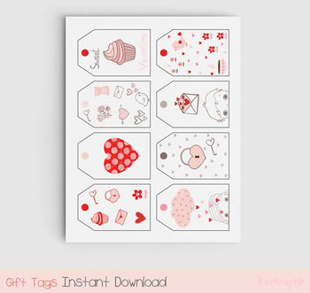 Printable Valentine tags, Love hang tags, Valentine's day gift tag, Gift bag tag