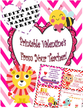 photograph relating to Printable Valentine Card for Teacher named Editable Valentines Playing cards for Pupils in opposition to Trainer