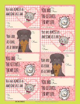 Printable Valentine's Day Cards from the pets - from their personalities