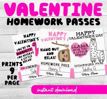 Printable Valentines Homework Pass Cards (makes a cute gift from teachers)