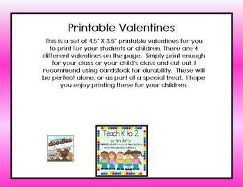 Printable Valentines/Valentines for Kids/Unique Valentines by Teach K to 2