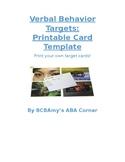 Printable Verbal Behavior Target Cards - Blank Template