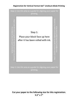 Printable Vertical Template Lino Block Printing 4x5