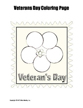 Printable Veterans Day Coloring Page Worksheet