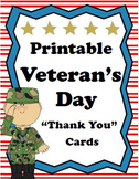 "Printable Veterans Day ""Thank You"" Cards"