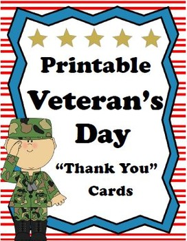 "Printable Veterans Day ""Thank You"" Cards by MyAceStraw 
