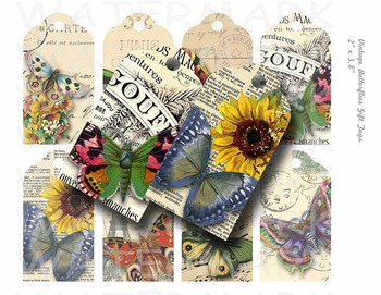 Printable Vintage Butterflies Gift Tags