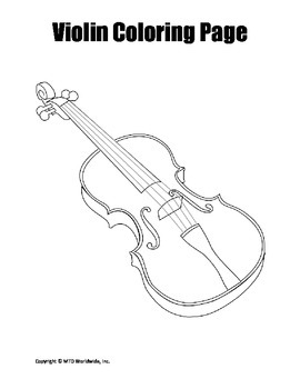 Printable Violin Coloring Page Worksheet By Lesson Machine Tpt