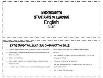 Printable Virginia SOL cards (Kindergarten)